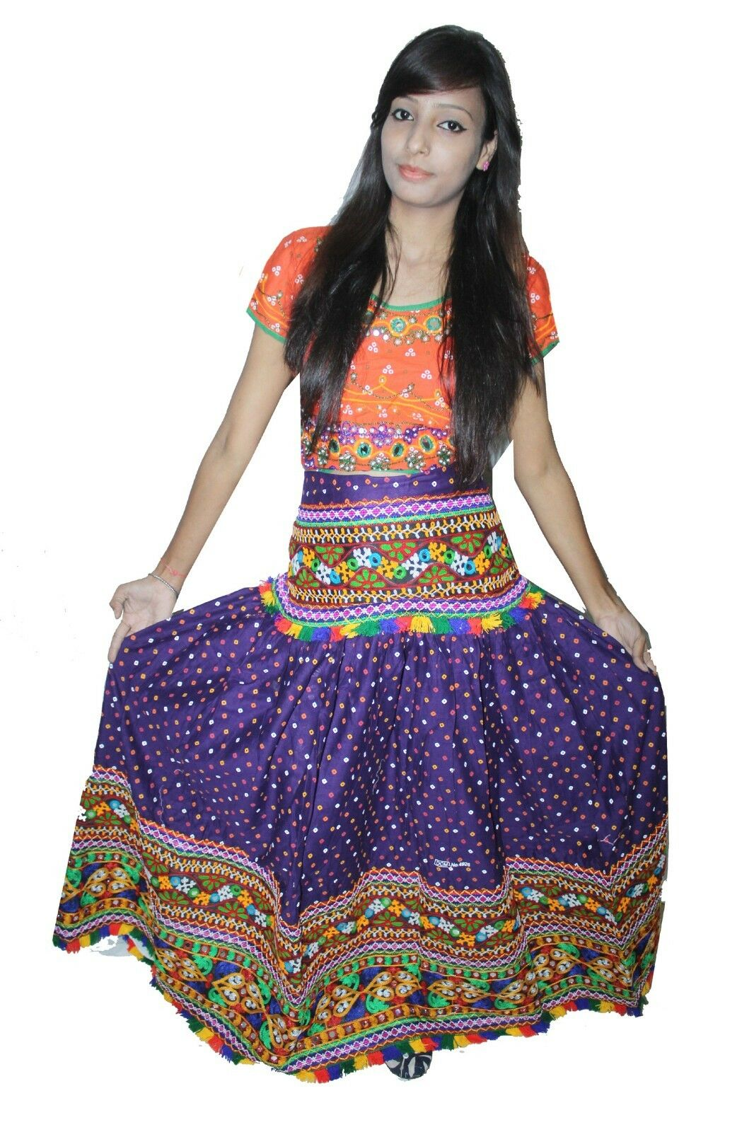 Indian 100% cotton Women Purple Long Skirt Embroidered Mirror Work Plus Size
