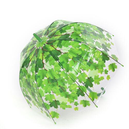Stock Haken Griff Klar Transparent Dome Herbst Ahornblatt Regen RegenschirmZJP