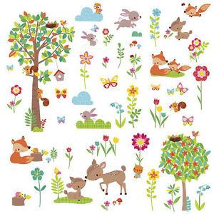 Wandsticker Baum Kinderzimmer | Wandtattoo Tiere Des Waldes Babyzimmer Wandsticker Baum Waldtiere