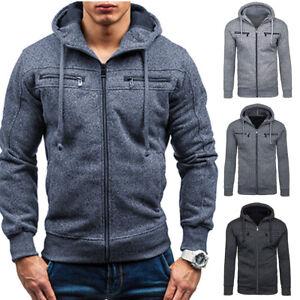 cbd9fd617837 Men s Winter Slim Fit Hoodie Warm Hooded Sweatshirt Coat Jacket ...