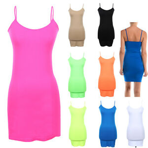 3e55661a3d1 Image is loading Extra-Long-Seamless-Tunic-Dress-Slip-Camisole-Layering-