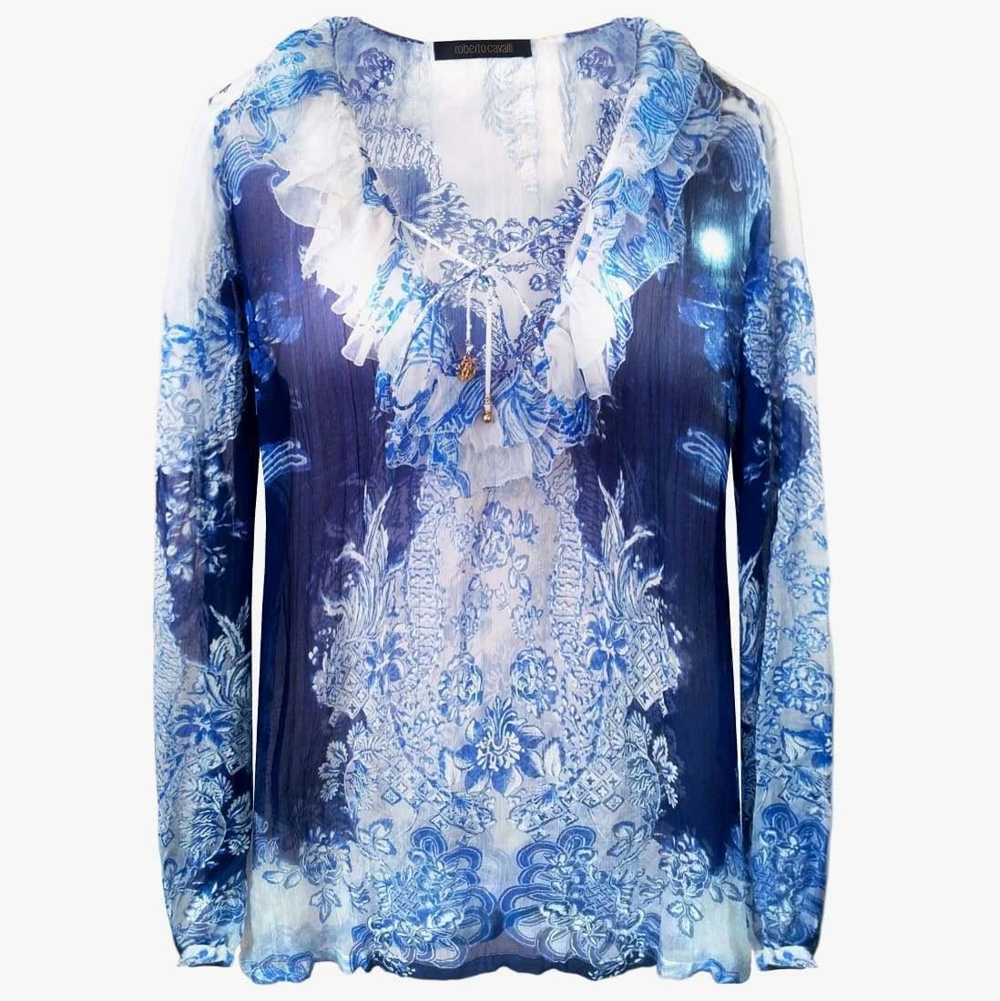 ROBERTO CAVALLI Women Silk Blouse Size 2XL Womens Oversize Blouse bluee Flower