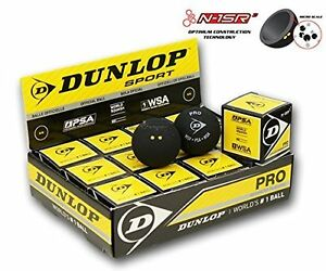 12 x Dunlop Pro Squash Balls Double Dot Yellow - WSF & WSA & PSA Official Ball