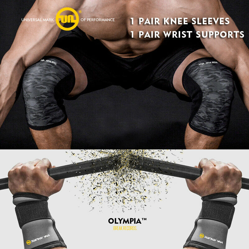 Knee Sleeves Patella 7mm Support & Wrist Straps Wrap  Sbd Lifting Strong CrossFit  cheap wholesale