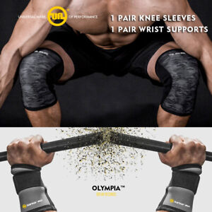 96525c74da Knee Sleeves 7mm Wrist Wraps Straps Gym Sbd Weight Lifting Crossfit ...