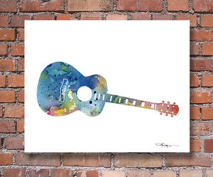 MUSICAL NOTE Contemporary Watercolor Abstract ART Print by Artist DJR