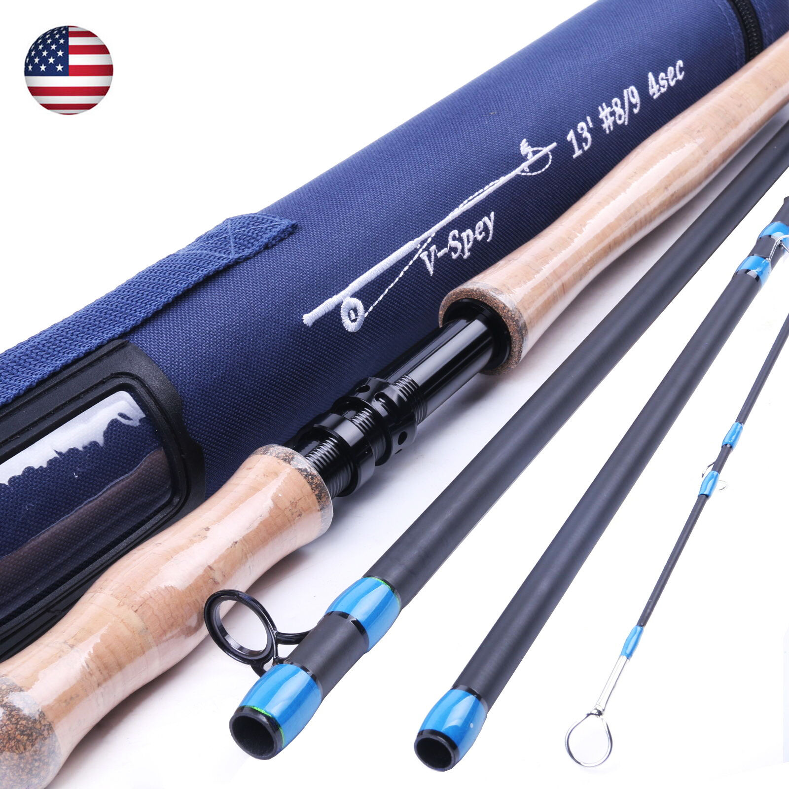 Spey Fliegen Fishing Rod  9WT 13FT 4SEC Spey Medium-Fast Fliegen Fishing Rod &Rod Case