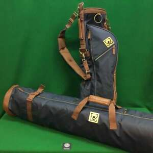 Retro Style Golf Pencil Carry Bag and Travel Cover Bag - 2 Piece Set - Navy