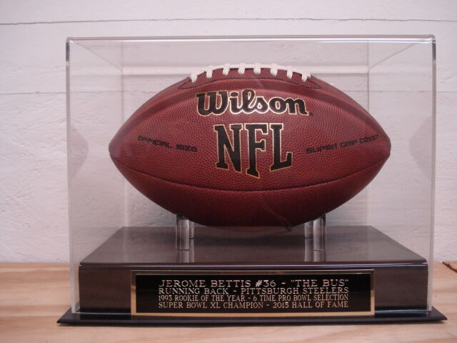 Football Display Case W// A Jerome Bettis Pittsburgh Steelers Engraved Nameplate