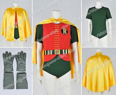 Batman 1966 Cosplay Robin Costume Yellow Cape Uniform Full Set Accurate Designed