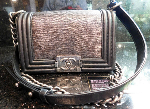 86dd723af476 $6900 AUTH 15A Chanel Limited Edition Lizard Skin Black Boy Bag Sz Small