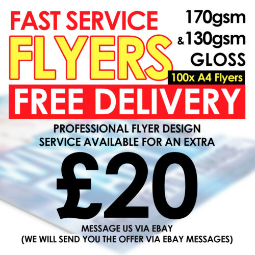 100 x A4 Leaflet Flyer Poster Full Colour Printing