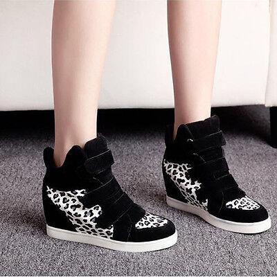 Damen Mode Freizeit versteckter Keil Absatz Schuhe verbesserte High Top Sneakers