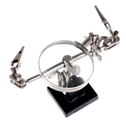 5X Third Hand Soldering Iron Stand Help Clamp Vise Clip Magnifying Glass Tool ST