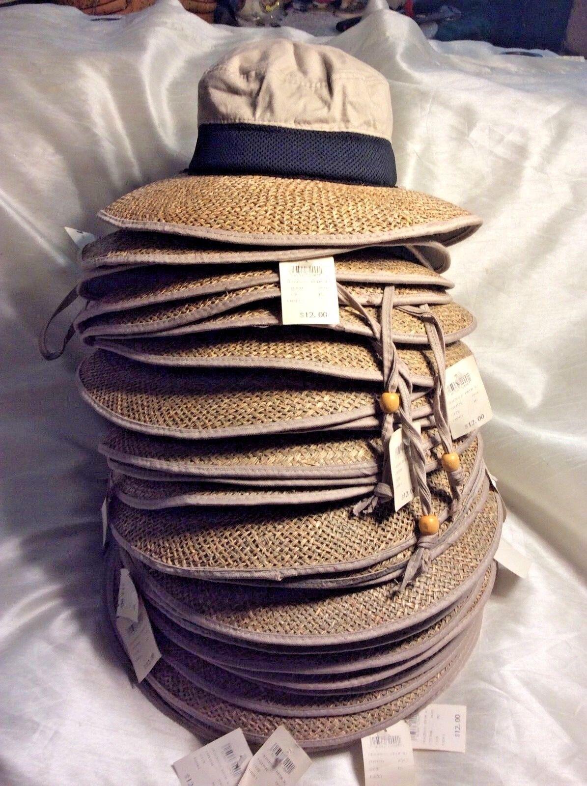 28 braun clair Camping Chapeaux Goutte Papillon Naturel en jonc de mer 100% Coton Original  12 neuf avec étiquette