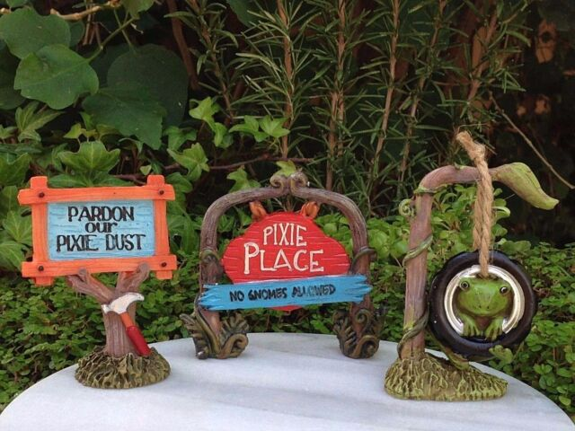 Ordinaire Miniature Dollhouse FAIRY GARDEN ~ Set 3 Pixie ENCHANTED FOREST Signs Tire  Swing