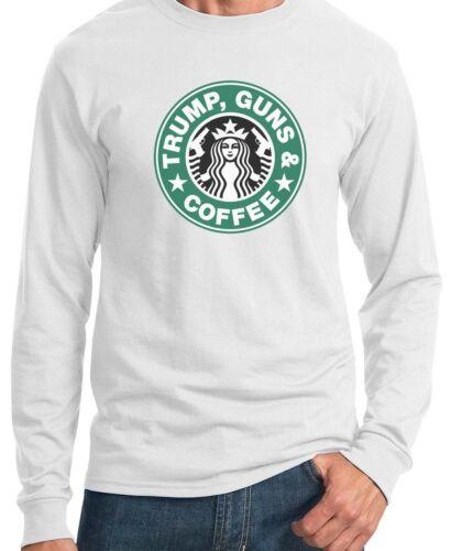 TRUMP GUNS /& COFFEE     White Long Sleeve T-SHIRT