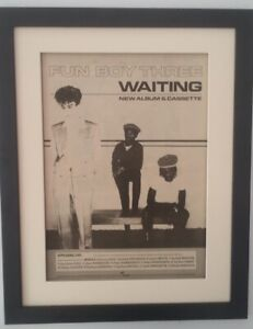 FUN-BOY-THREE-Waiting-1983-ORIGINAL-POSTER-AD-QUALITY-FRAMED-FAST-WORLD-SHIP