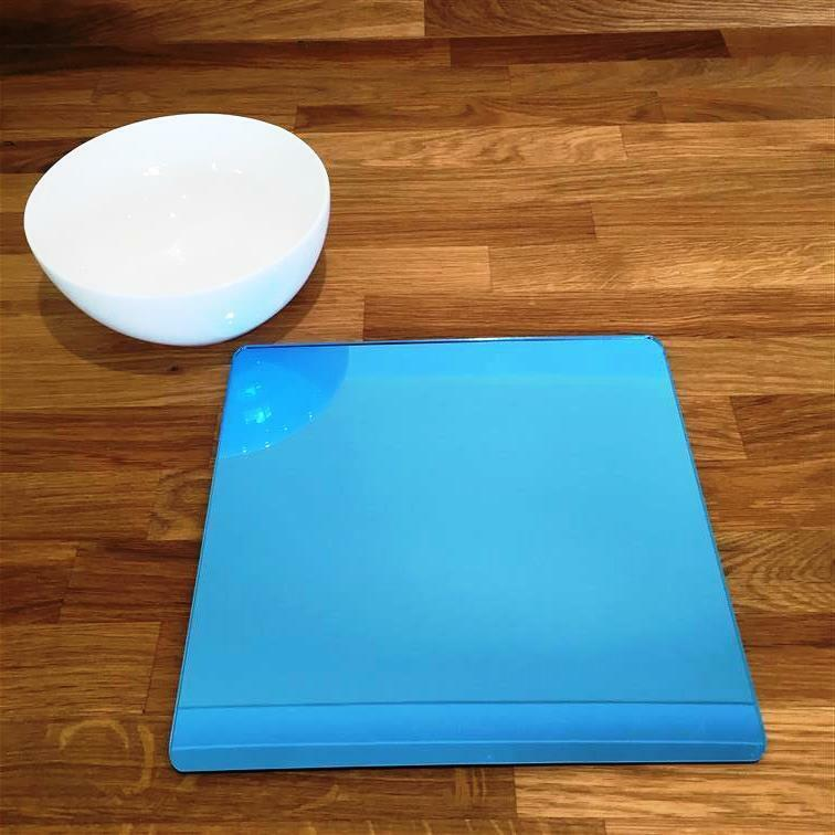 Square Shaped Blau Mirror Acrylic Placemats, Sets 4 6 8, Größe 9  or 12