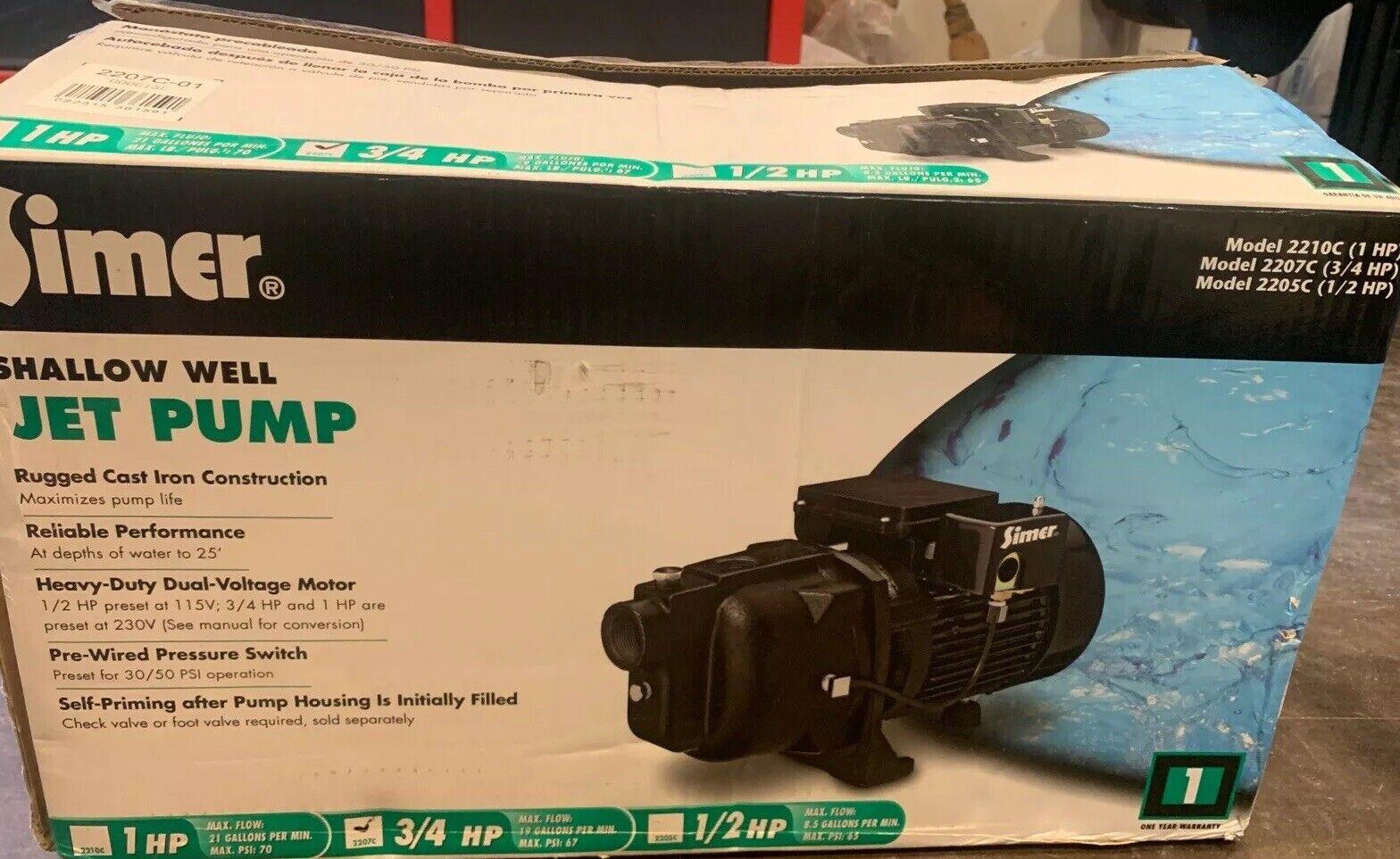 Simer 2207C 3/4 HP Shallow Well Jet Pump Well Pumps Water Pumps ...
