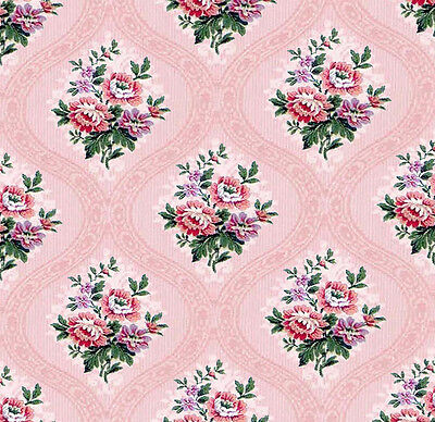 Dolls House Wallpaper 1/12th 1/24th scale Pink Quality Paper #230