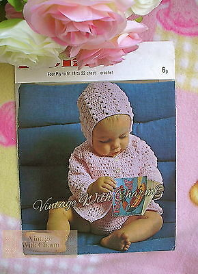 2 Sizes Vintage 1950/'s Knitting Pattern Baby/'s 4 Piece Set; Coat Bonnet etc
