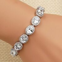 7.5 In White Gold GP Oval Cut 8*6m Clear Cubic Zirconia CZ Tennis Bracelet 00163
