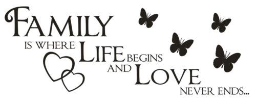 X267 murales hechizo-family is where Life Begins familia Love pared Pegatina