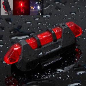 Luce-Bici-Posteriore-Fanale-5-LED-Sicurezza-Bicicletta-Batteria-integrata-Rosso