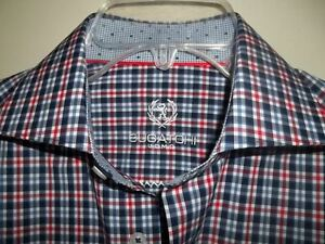 BUGATCHI-UOMO-MEN-039-S-SHIRT-L-S-RED-BLUE-Sz-14-1-2-Shaped-fit-NWT