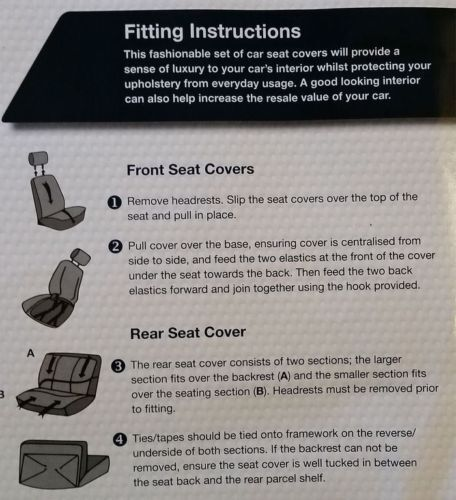 Bloomsbury Grey Leather Look 8 PCE Car Seat Covers For Ford Fiesta Focus Mondeo
