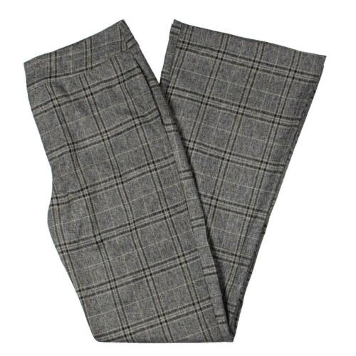 Lucca Womens Gray Plaid High Rise Business Dress Pants Trousers S BHFO 0066
