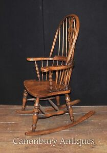 Image Is Loading Hand Carved English Windsor Rocking Chair Farmhouse Chairs