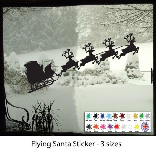 Home Wall Decal Santa on Sleigh Decal Christmas Wall Art Vinyl Sticker
