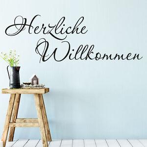 Das Bild Wird Geladen Wandtattoo Herzlich Willkommen In Schnoerkelschrift  Flur Eingang KLEBEHELD