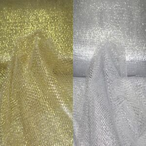 Tüll Stoff Metallisch Gold Silber Dekostoff Meterware Metallfaser mittelweich