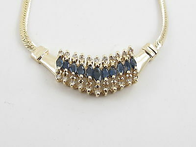 "14k Yellow Gold Diamond And Sapphire necklace 16"" 1.45 carats"