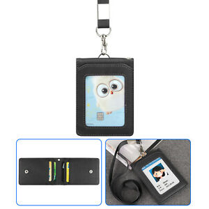 Details about  /Leather Wallet Work Office ID Card Credit Card Badge Holder 5 Slot Lanyard US