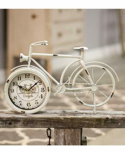 Chipped Bicycle Table Clock Design Metal Antique Bicycle Desk Clock Battery