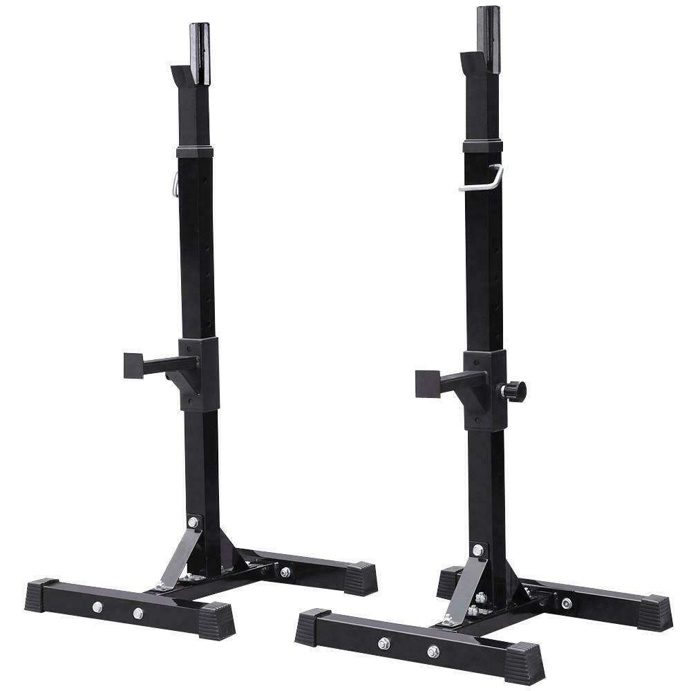 2PCS Adjustable Standard Solid Squat Stands Rack Barbell Fre