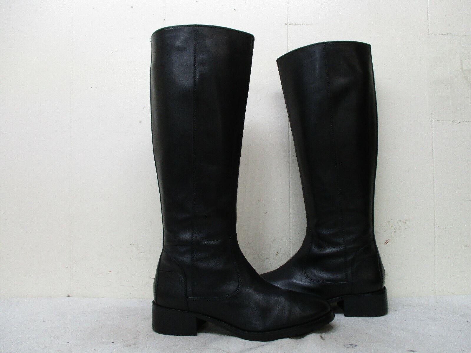 Donald J Pliner Bixbi 3-35 Black Leather Zip Knee Riding Boots Womens Size 7.5 M