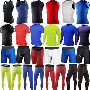 Mens-Sports-Compression-Fitness-Gym-Joggers-Shorts-Pants-Tank-Top-Vest-T-Shirt