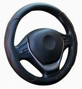 Black-amp-Red-PU-Leather-Car-Steering-Wheel-Cover-38CM-15-034-37-Universal-Good-Grip