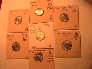 1948-1963-Lot-of-7-NETHERLANDS-25-Cent-Ch-AU-BU-High-Grade-Dutch-25C-Coin