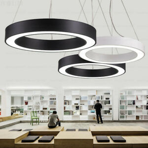 Details About Office Simple Lamp Circular Led Pendant Lighting Hollow Round Hanging Lights