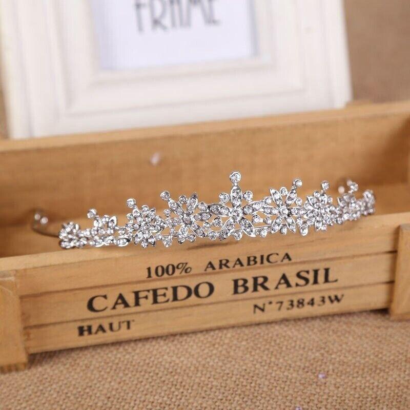 Crystal Pearl Wedding Crown Elegant Bridal Hair Accessory Bride Rhinestone Tiara