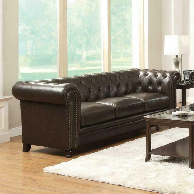 Coaster Roy Leather Sofa With Rolled