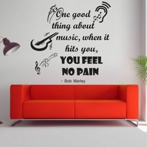 Bob Marley Music Quote Vinyl Wall Art Decal Decor Sticker For Home Room Walls