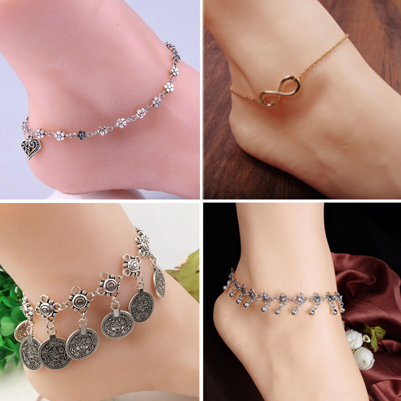 Womens Charm Anklet Ankle Bracelet Chain Sandal Barefoot Lot Beach Foot Jewelry