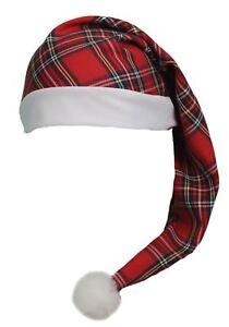 Adults-Red-Royal-Stewart-Tartan-Night-Cap-Scottish-Wee-Willy-winky-Hat
